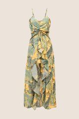 Moon River Sleeveless Floral Wrap Dress