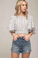 Moon River Tie Back Striped Top