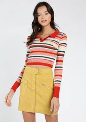 Honey Punch Stripe Crop Polo Sweater