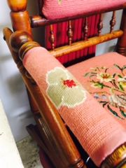 amazing antique rocker with hand made needlepoint in great condition