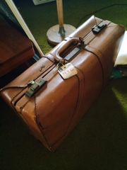vintage leather suitcase monogrammed CT