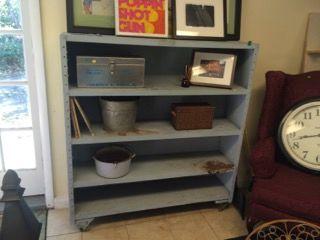 Vintage Industrial Steel Bookshelf On Casters