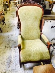 antique upholstered cherry rocking chair