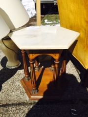 set of two antique marble top endtables