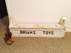 "adorable antique child's bench toy box ""brian"""