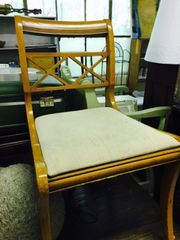 set of four vintage blonde dining chairs