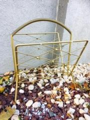 awesome vintage gold metal magazine basket