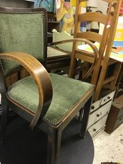 set of TWO vintage bent wood arm chairs -- see more