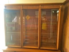 mid-century modern glass door and shelves hutch