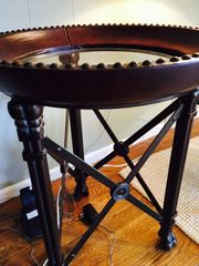 very high quality leather glass and metal side table