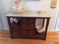 antique cherry marble topped entry table dresser sideboard