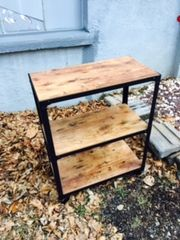 wood and steel petite bookshelf on casters