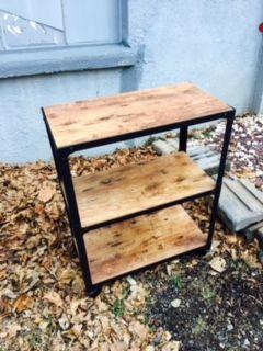 Wood And Steel Petite Bookshelf On Casters