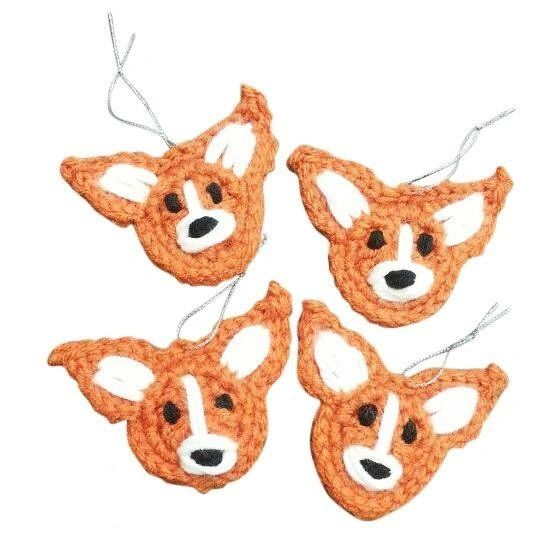 crochet corgi face christmas ornament - Corgi Christmas Ornaments