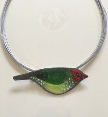 Enamel Bird on Silver Cable Chain