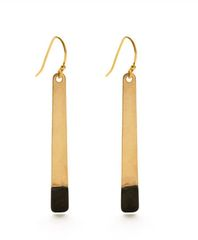 "Brass and Oxidized Brass ""Bar"" Earrings"