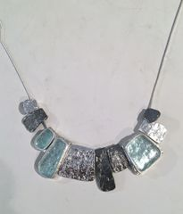 One of a Kind Roman Glass and Oxidized Silver Necklace