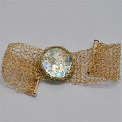 Ancient Roman Glass with Hand Crocheted Gold Plated Bracelet