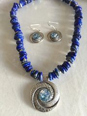 Ancient Roman Glass Necklace in Swirl Design with Lapis Beads