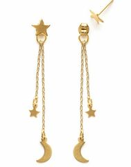 Brass Crescent Moon and Star Earrings
