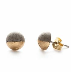 Gilded Concrete and Brass Stud Earrings