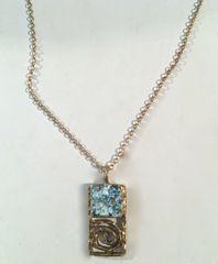 Ancient Roman Glass Rectangular Swirl Necklace in Brass