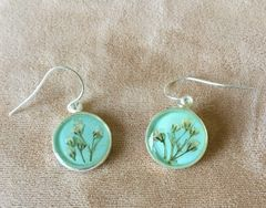 Baby Breath Round Earrings on Aqua Enamel