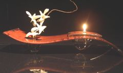 "Fused Glass with Copper Oil Lamp-""Sedona"""
