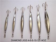 Qty 6 Diamond Jigs Chrome Bar (Available Sizes 2-4-6-8-10)