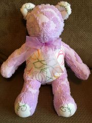 Purple vintage chenille / embroidered Teddy Bear