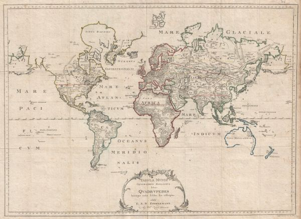 Tabula Mundi Geographico Zoologica sistens Quadrupedes...