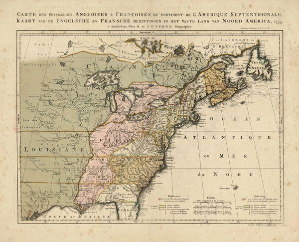 Carte des Possessions Angloise & Francoise du Continent de l'Amerique Septentrionale