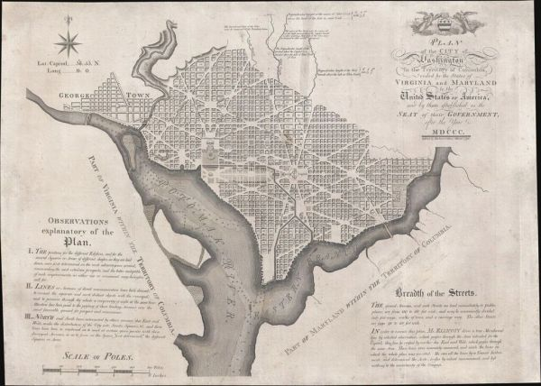 Plan of the City of Washington in the Territory of Columbia, ceded by the States of Virginia and Maryland to the United States of America...