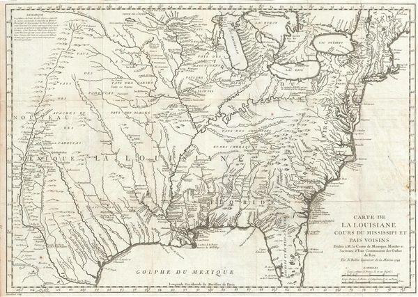 Carte de la Louisiane cours de Mississippi et Pais Voisins