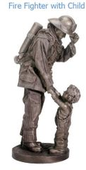 Fire Fighter with Child Statue