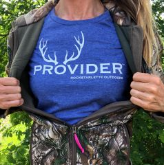 PROVIDER™ Hunting Logo T shirt, Relaxed Fit Crewneck, Heather Blue