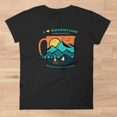 I Love Adventure (and Coffee) Plus Size T shirt, 2XL-3XL (sz 16-20), Relaxed Fit Crewneck, Black, NEW!!