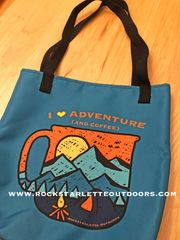 Tote Bag: I Love Adventure (and Coffee) Teal
