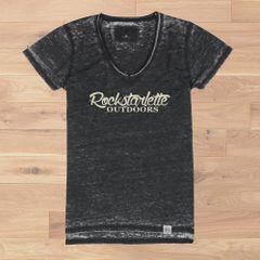 Rockstarlette Outdoors Vintage Wash V Neck T Shirt, Ultra Soft Burnout Fabric