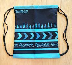 Tote Bag: Drawstring Rockstarlette Outdoors Teal and Black Logo