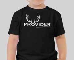 Youth PROVIDER™ T Shirt, Baby and Toddler Sizes, Fishing or Hunting Logo, Black, NEW!