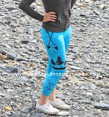 Arrow Leggings, Teal, CAPRI Version, Made in the USA