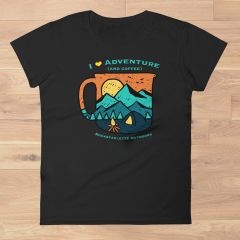 I Love Adventure (and Coffee) T shirt, Relaxed Fit Crewneck, Black, NEW!!