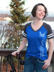 SALE $18 OFF, Blue Color Block T Shirt, Rockstarlette Bowhunting, Clearance