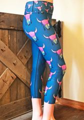 Sunset Skull Southwestern Capris, Wide Yoga Waistband, Special Edition Featuring the Art of Courtney Starns NEW!