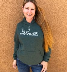 PROVIDER Hunting Logo Fleece Lined Pullover Hoodie, NEW! Heather Green, SUPER soft