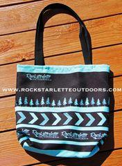 Tote Bag: Rockstarlette Outdoors Teal and Black Logo