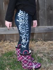 Youth Rockstarlette Outdoors Logo Leggings, (2T-14) Made in the USA