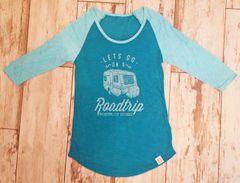 Lets Go On A Roadtrip, SALE, Teal, Raglan 3/4 Sleeve Rockstarlette Outdoors T Shirt