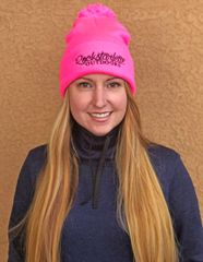 Hot Pink Rockstarlette Outdoors Logo Knit Cap with Pom Pom, NEW!